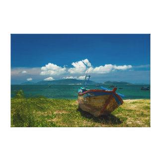 Fishing Boat Nha Trang Bay Vietnam Canvas Print