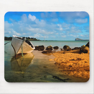 Fishing Boat On Mauritian Beach With Islet Mouse Pad