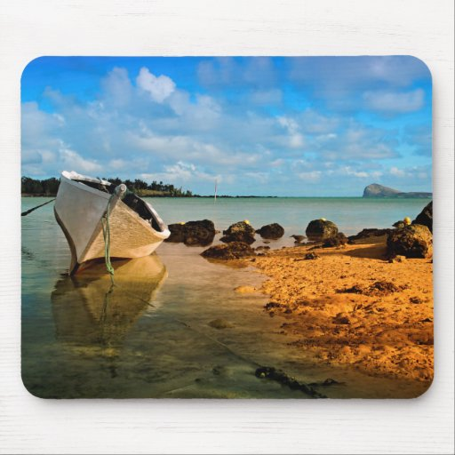 Fishing Boat On Mauritian Beach With Islet Mousepad