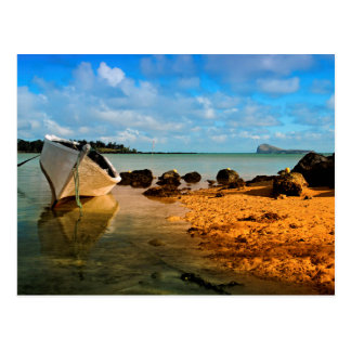 Fishing Boat On Mauritian Beach With Islet Postcard