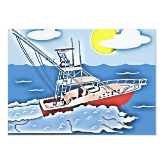 Fishing Boat on the High Seas 13 Cm X 18 Cm Invitation Card