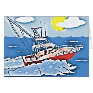 Fishing Boat on the High Seas Greeting Cards