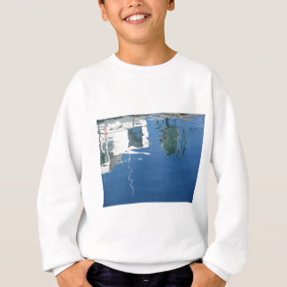 Fishing boat reflects in the water sweatshirt