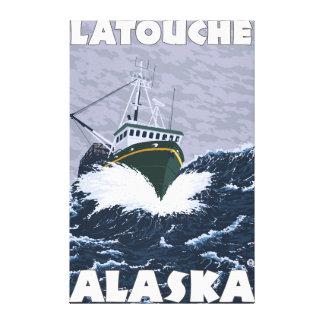 Fishing Boat Scene - Latouche Alaska Gallery Wrapped Canvas