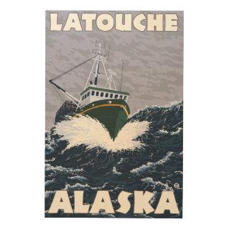 Fishing Boat Scene - Latouche, Alaska Wood Canvas