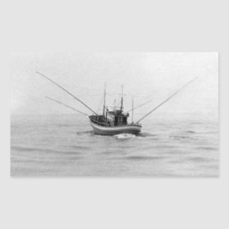 Fishing Boat Trolling Rectangular Stickers