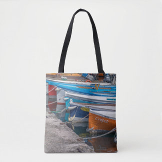 Fishing boats all-over-print tote bag