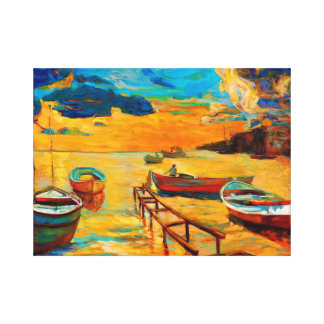 Fishing boats and ocean at sunset canvas print