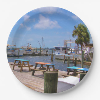 Fishing Boats and Pier Paper Plate