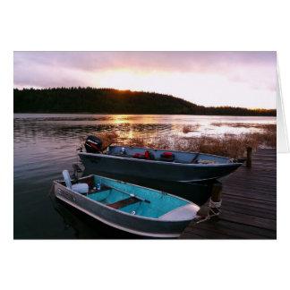 Fishing Boats at Sundown Greeting Card