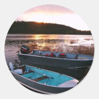 Fishing Boats at Sundown Classic Round Sticker