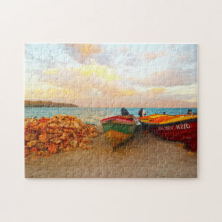 Fishing boats on a Jamaica beach. Jigsaw Puzzle