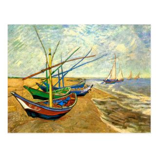 Fishing Boats on Saintes-Maries beach by van Gogh Postcard