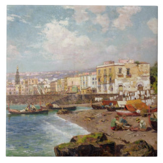 Fishing Boats on the Beach at Marinella, Naples (o Ceramic Tile