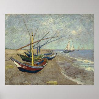 Fishing Boats on the Beach at Saintes-Maries -1888 Poster