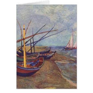 Fishing Boats on the Beach at Saintes-Maries Greeting Card