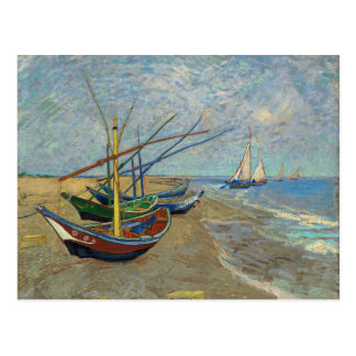 Fishing Boats on the Beach by Van Gogh Postcard