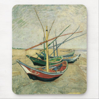 Fishing Boats on the Beach by Vincent van Gogh Mouse Pad