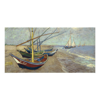 Fishing Boats on the Beach by Vincent Van Gogh Personalized Photo Card