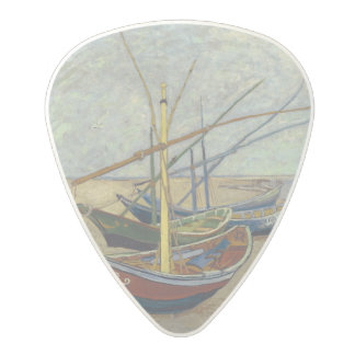 Fishing Boats on the Beach by Vincent Van Gogh Polycarbonate Guitar Pick