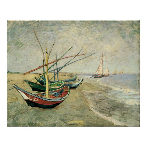 Fishing Boats on the Beach by Vincent van Gogh Posters