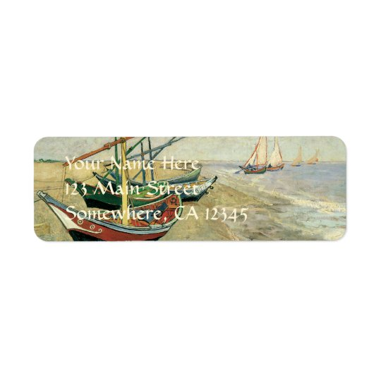 Fishing Boats on the Beach by Vincent van Gogh Return Address Label