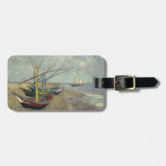 Fishing boats on the beach luggage tag