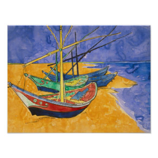 Fishing Boats on the Beach Poster