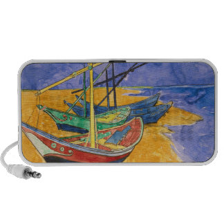 Fishing Boats on the Beach Notebook Speaker