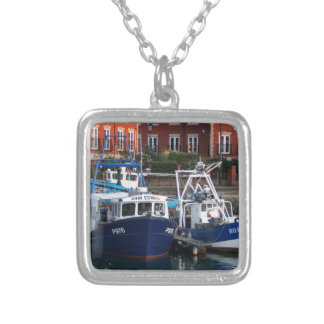 Fishing boats, Portsmouth, England Silver Plated Necklace
