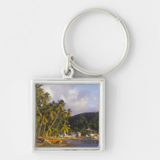 Fishing boats, Soufriere, St Lucia, Caribbean Silver-Colored Square Key Ring