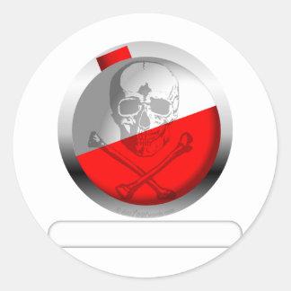Fishing Bobber Skull and Crossbones Round Sticker