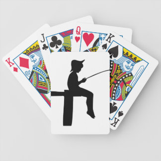 Fishing Boy Silhouette Bicycle Playing Cards