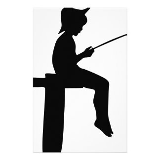 Fishing Boy Silhouette Stationery
