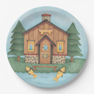Fishing Cabin Paper Plate