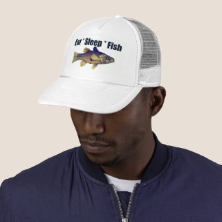 Fishing Cap - Eat Sleep Fish Trucker Hat, White