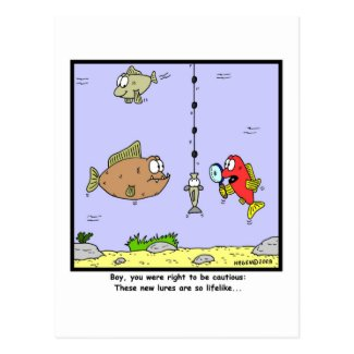 Fishing Cartoon: Lures Postcard