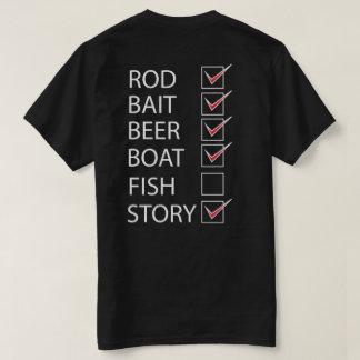 Fishing Check Off List on back Funny Black T-shirt