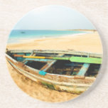 Fishing Dory on the Beach Beverage Coaster