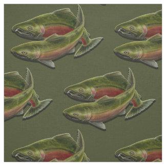 Fishing Fabric Coho Salmon Fish Pattern Fabrics