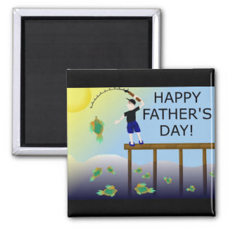 fishing fish father's day father dad square magnet