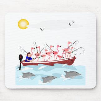 Fishing flamingos mouse pad
