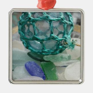 Fishing float on glass, Alaska Metal Ornament