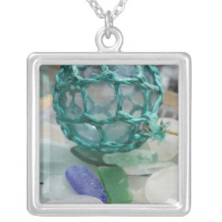 Fishing float on glass, Alaska Silver Plated Necklace