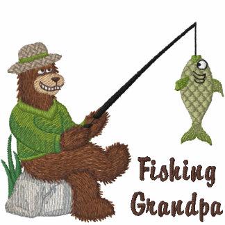 Fishing Grandpa Bear Embroidered Polo Shirt