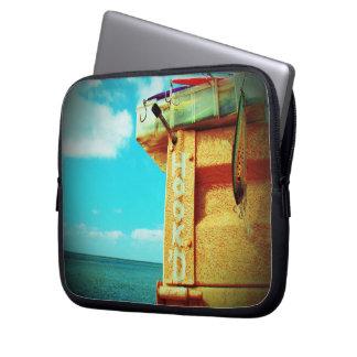 Fishing hook'd beach fish tackle box aqua laptop sleeve
