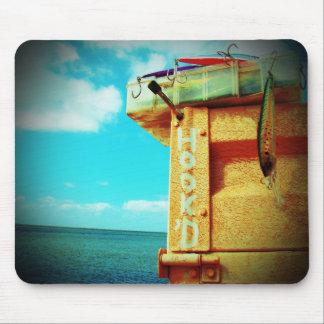 Fishing hook'd beach fish tackle box aqua mouse pad