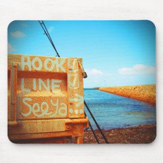 Fishing hook line seeya beach fish blue jetty pier mouse pad