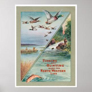 Fishing Hunting North Western Travel Ad Print Post