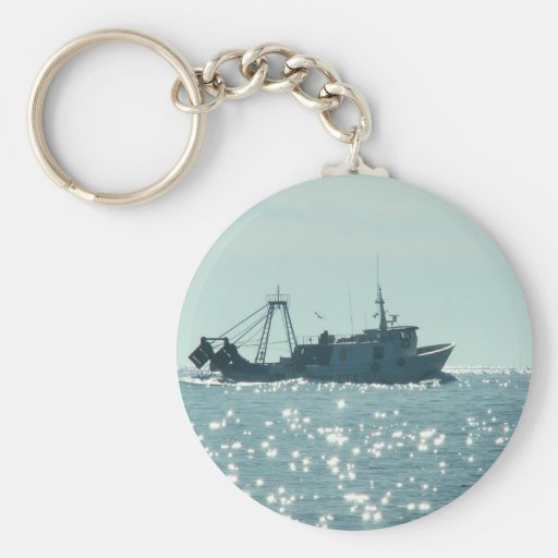 Fishing In A Sparkling Sea Key Chain
